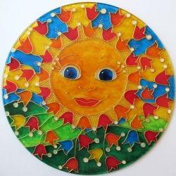 """Vitráž """"Sluníčko Adélka"""" - Ručně malovaná autorská vitráž *  Hand Painted Glass * Stained Glass Window"""