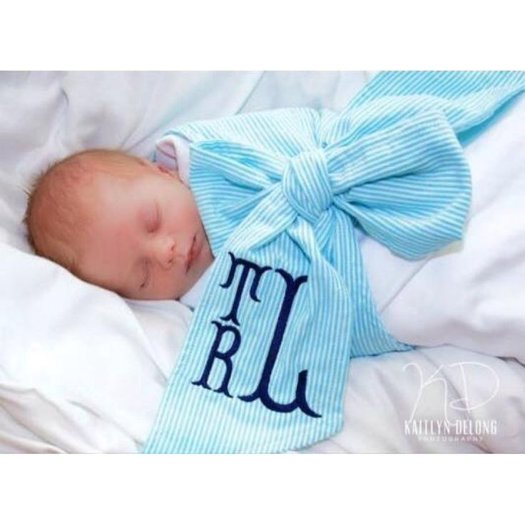 Seersucker Swaddle - Blue This is a precious baby gift!   #monogram #babyboy #babygift