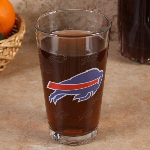 Buffalo Bills 16oz. Satin Etch Pint Glass by Football Fanatics. $10.95. Officially licensed NFL product. Made of glass. Etched logo detailing. Holds approximately 16 ounces. Give your barware a modern update with this 16oz. pint glass featuring a bold team colored graphic and an all-over satin etch team logo print!Team logo and colorsEtched logo detailingHolds approximately 16 ouncesMade of glassOfficially licensed NFL product