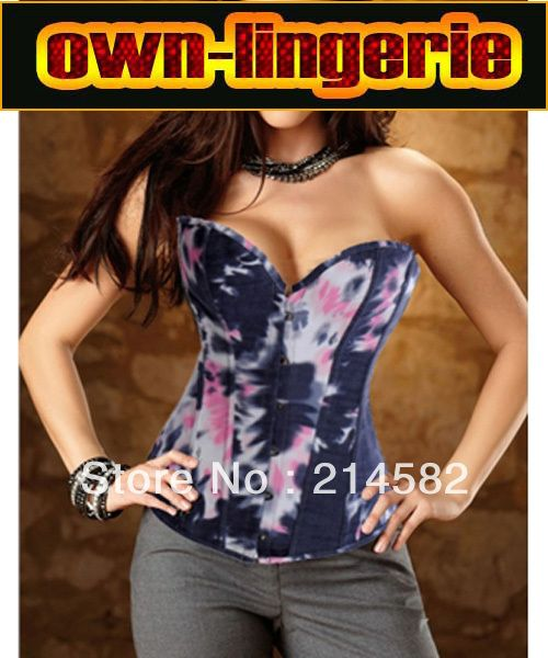 Hot Floral Print Corset Tops Strapless overbust eye hook laced up corset top w3290