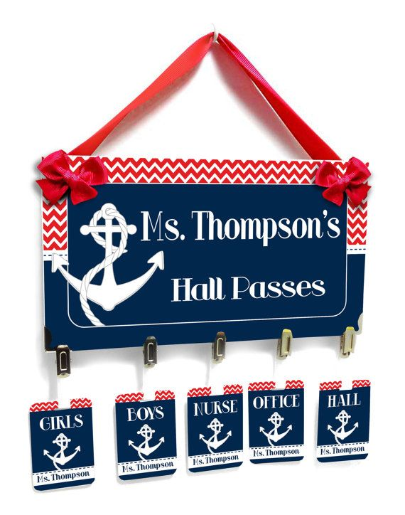 nautical anchor theme teacher classroom passes dark blue with red chevron - HP43