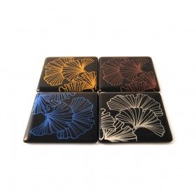 These beautiful, eye catching coasters are printed onto fused glass. The design on the coasters is a hand drawn Ginko tree. From miratis.com