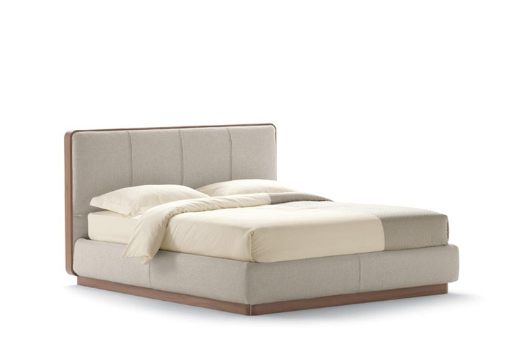 """""""Ermes"""" Bed by Flou with high headboard and removable cover. Also available as…"""