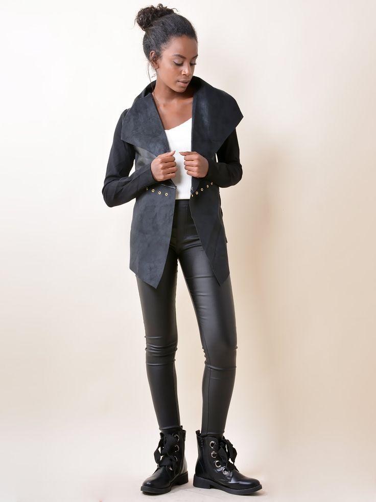 SS1850 Σακάκι με Suede & Δερματίνη Λεπτομέρεια - Decoro - Γυναικεία ρούχα, ανδρικά ρούχα, παπούτσια