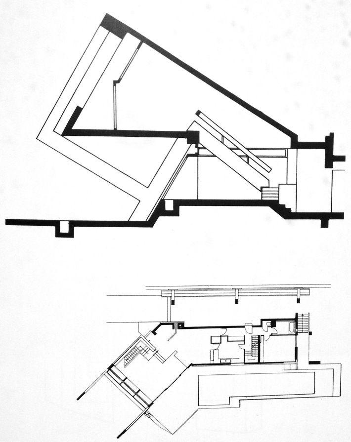 """Sección y planta """"Drusch house"""" / Versailles / Claude Parent y Paul Virilio / 1962-63."""