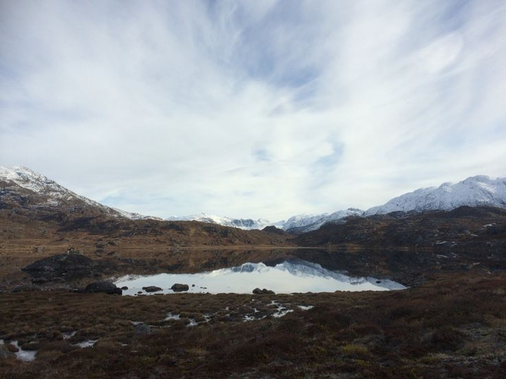 Autumn in Greenland - snow on top of The mountains