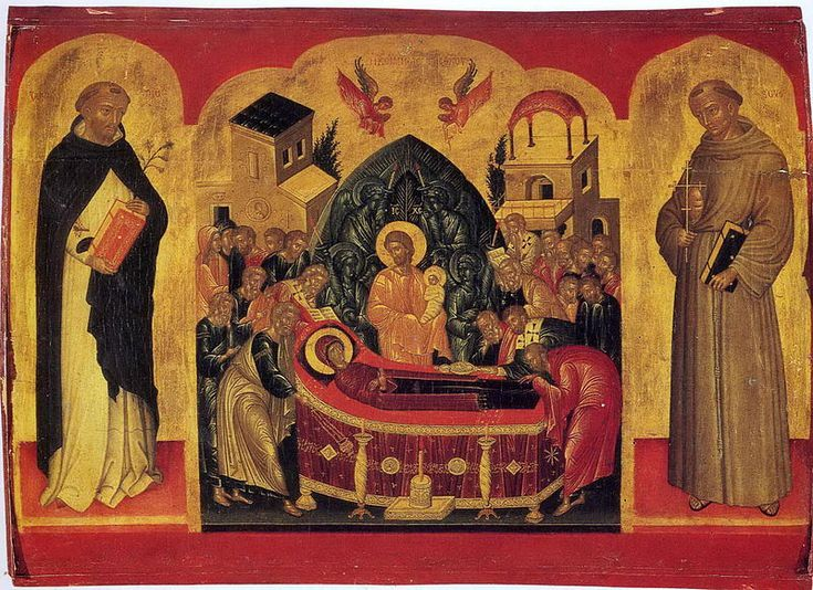 Dormition of Mary with Francis and Dominic (School of Andreas Ritzos, 15 c.) 01 - Category:Andreas Ritzos - Wikimedia Commons