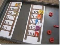For preschoolers I would work with beginning letters in words, and maybe