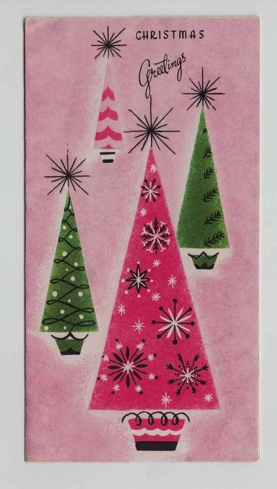 Vintage Decorated Cone Christmas Trees on Pink Brookline Greeting Card
