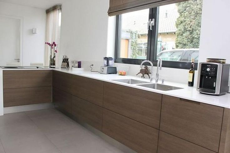 Keuken Walnoot : houten keuken + wit composiet werkblad - Google ...