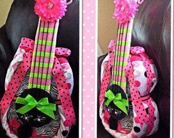 Guitar Diaper Cake by Bobbiepinsdiapercake on Etsy