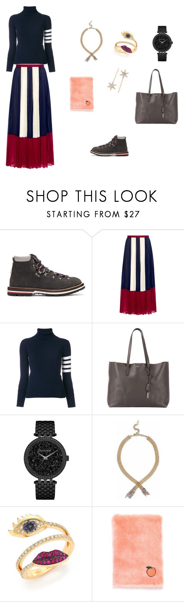 """Pleats and Stripes"" by chingjade ❤ liked on Polyvore featuring Moncler, RED Valentino, Thom Browne, Yves Saint Laurent, Caravelle by Bulova, Elizabeth Cole, Delfina Delettrez and Jennifer Behr"