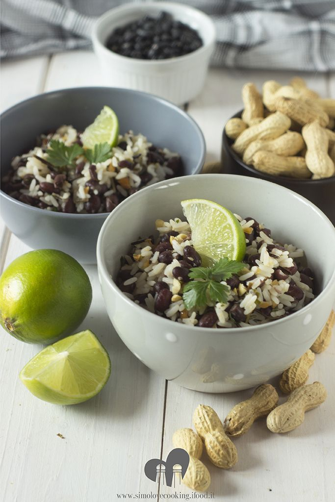 riso fagioli neri arachidi e lime - black beans, peanuts and lime rice