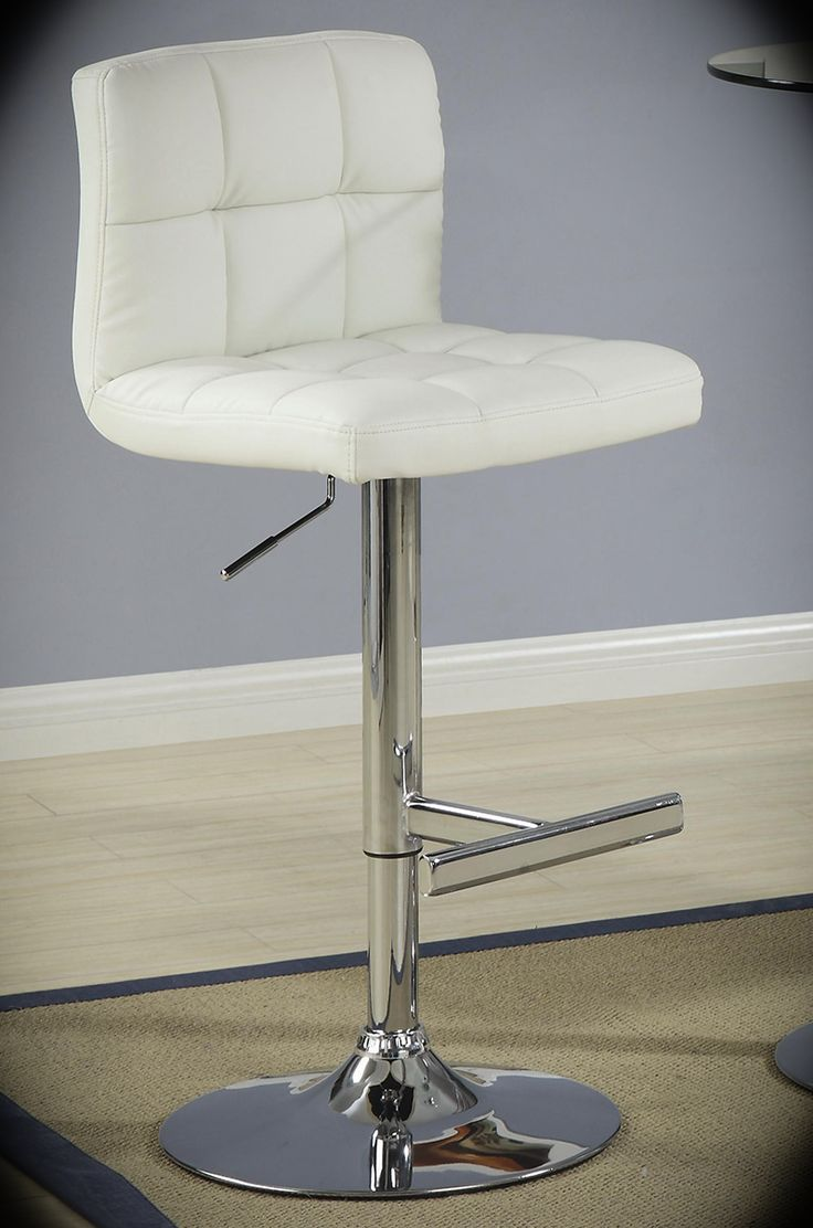 """Adjustable Stool with Padded Straight Line Back Contemporary White Width: 18"""" Height: 35.25"""" Depth: 18"""" A stylish look for hangouts and sleek dining, this cream bar stool is perfect for your space. The cream seat with a padded straight line roll back and seat design makes this barstool comfortable and visually appealing accent at a bar counter or table."""