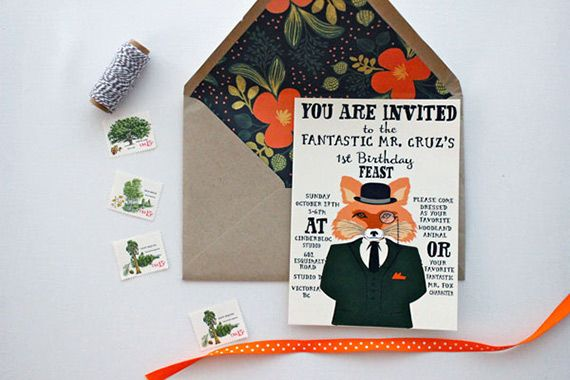 Fantastic Mr. Fox first birthday | The Paper Suite | 100 Layer CakeletFoxes Theme, Birthday Parties, Foxes Invitations, 5Th Birthday, Birthday Invitations, Fantastic Mr Foxes Parties, Parties Ideas, First Birthdays, Foxes Birthday