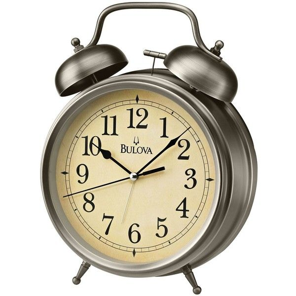 Bulova Brayton Antique Bronze Steel Alarm Clock ($88) ❤ liked on Polyvore featuring home, home decor, clocks, decor, filler, accessories, clock alarm, alarm clock, traditional alarm clock and bulova alarm clock