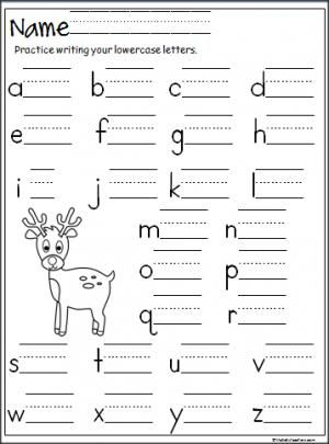 Reindeer lowercase letter writing practice page.  Terrific for Christmas, December, or winter for beginning writers in preschool and Kindergarten.