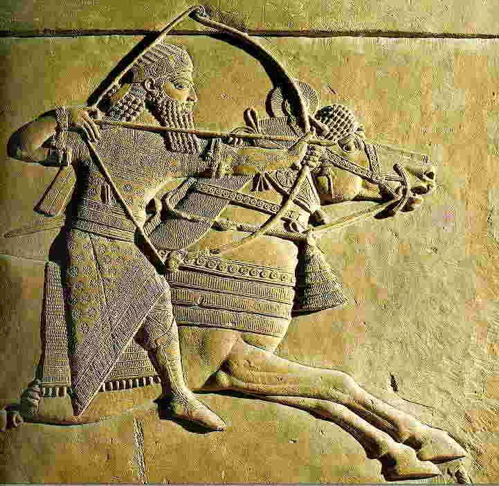 Ancient Near East Architecture Carved Wall Relief Of Assyrian Solder In Battle