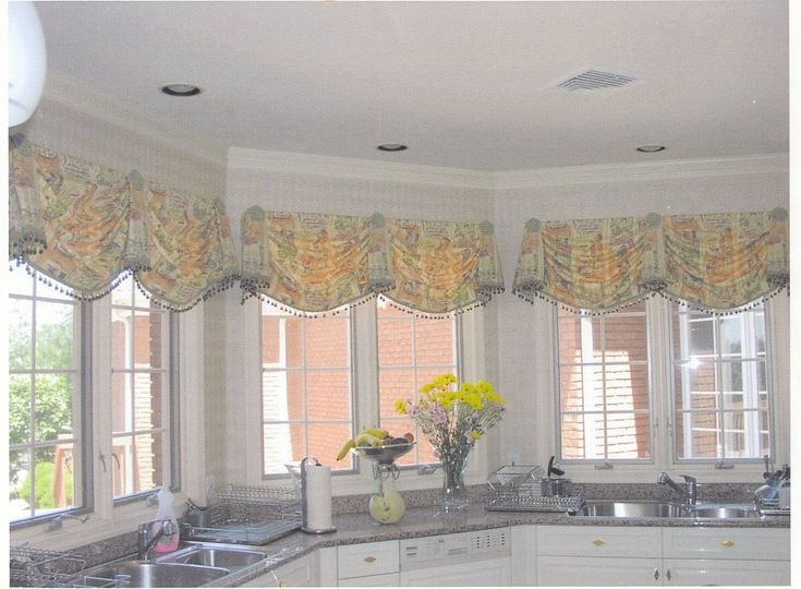 warm up kitchen windows with sunny yellow custom top treatments - Kitchen Window Valances