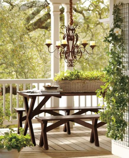 This one anchors an outdoor seating area. Pottery Barn.Outdoor Seats, Outdoor Living, Outdoor Patios, Back Porches, Picnics Tables, Outdoor Spaces, Outdoor Lights, Pottery Barns, Front Porches