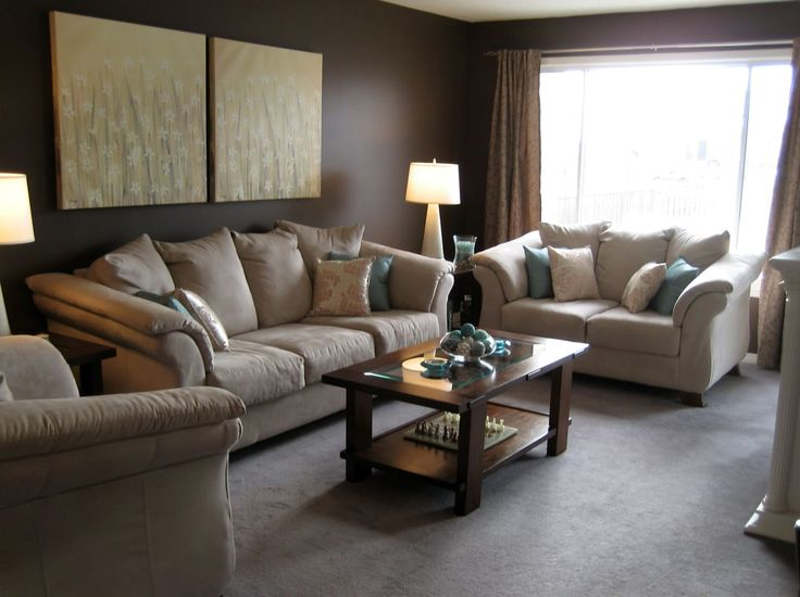 Classy Beige Couch With Small Brown Wooden Coffee Table Added Single Tier  Storage Also Art Wall On Brown Wall As Decorate In Modern Small Brown  Living Room ...