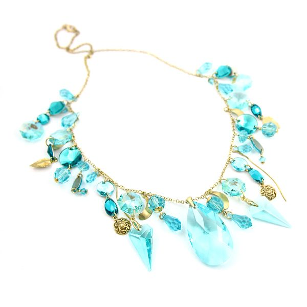 Turquoise Dreams. Swarovski crystals in different shapes: drops, rounds, octagons. Diuu
