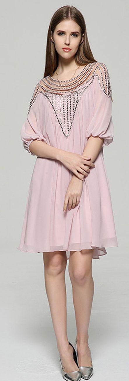 TooTa Pink 3/4 Sleeves Lantern Sleeves Beading Dress