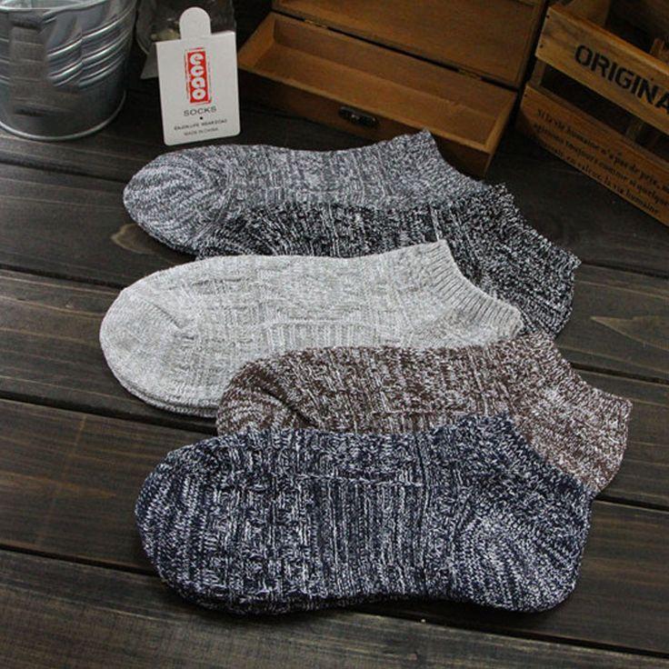 Pria Socks Warm 5 Pasangan Lot Man Musim Dingin Mens Socks Wol Cotton Harajuku Socks Sandal Pria Tebal Thermal Rendah Cut pria Socks Pendek