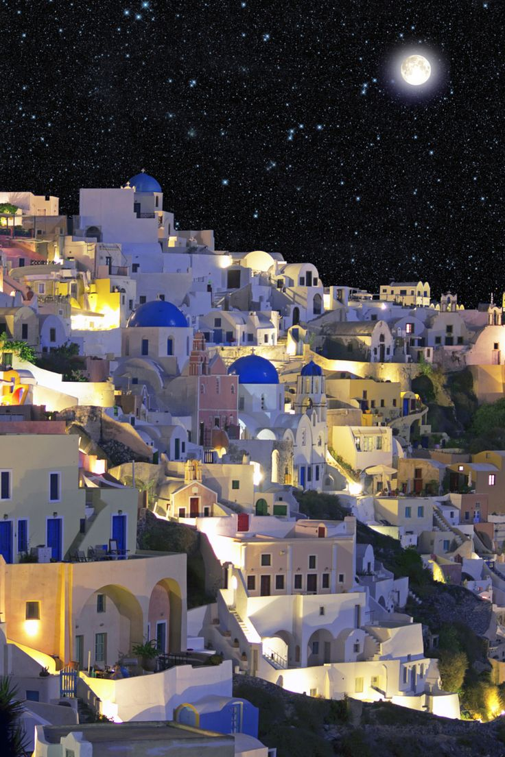 Full moon over Oia, Santorini