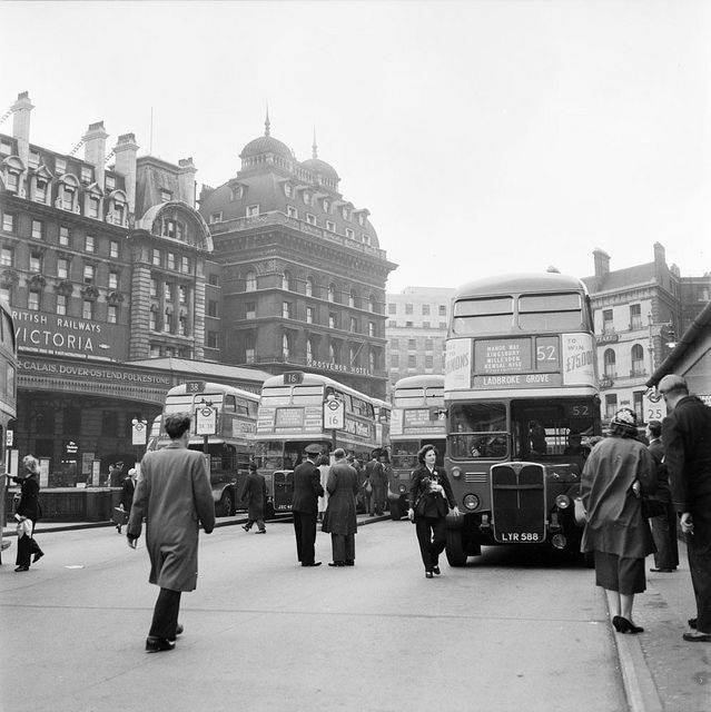 Victoria bus station in London 1956 | Flickr - Photo Sharing! Would have seen it like this at this time.