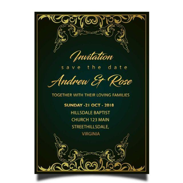 Royal Wedding Invitation Card Template Psd With Gold Frame Royal Wedding Invitation Wedding Invitation Card Template Wedding Invitation Cards