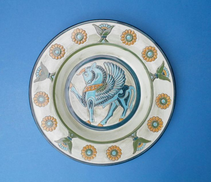 #SYLVAC #Pottery - 31cm PEGASUS Plaque, £19.99obo by @20thCenturyG - A striking large art deco SylvaC Pottery platter or wall plaque decorated with classical motifs around a central winged horse - PEGASUS.  Printed marks on the back together with the original makers label.  Dates to c1950?  Size - 30.5cm diameter