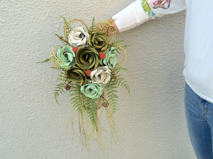 Waterfall brides bouquet with grasses & fern. www.flaxation.co.nz