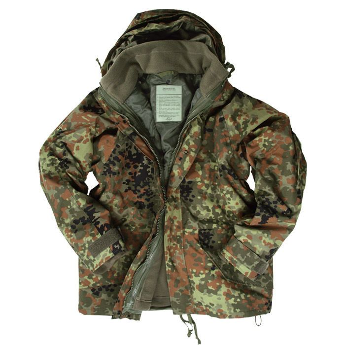 Details about ECWCS Army Jacket Combat Mens Smock Hooded Parka + Fleece Flecktarn Camo S-3XL
