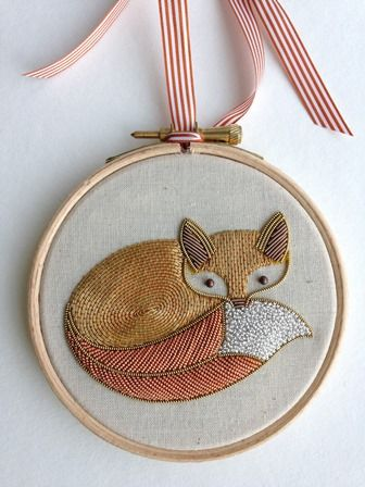 goldwork fox the second in the woodland creature series class by Becky Hogg for the Royal School of Needlework go bloody figure the class is sold out and also in the UK