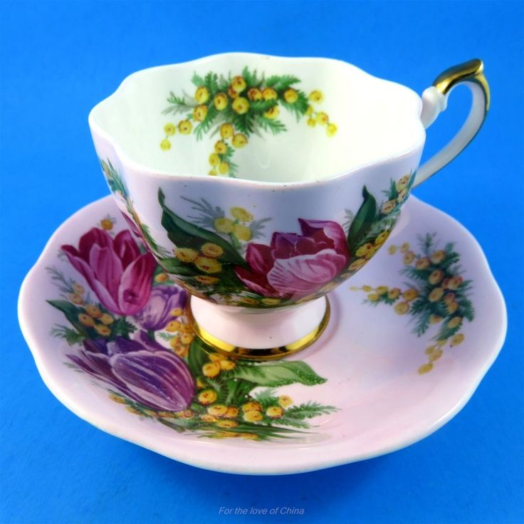 Striking Tulip Bouquet on Pink Background Queen Anne Tea Cup and Saucer Set | Antiques, Decorative Arts, Ceramics & Porcelain | eBay!