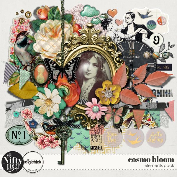 Cosmo Bloom Elements Pack by The Nifty Pixel This pack is filled to the brim with lots of pretty elements that are perfectly suited to both Spring and Autumn themed projects. With lots of pretty elements including flowers, butterflies, brads, textures and a bunting to name a few this pack will be perfect for creating some very pretty and vintage inspired pages.  PACK INCLUDES:  64X Elements All products are saved at 300ppi for optimum printing quality.