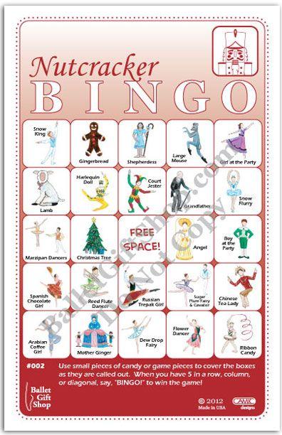 Nutcracker Ballet Bingo - Nutcracker Ballerina Birthday Games.  $39 for set of 30