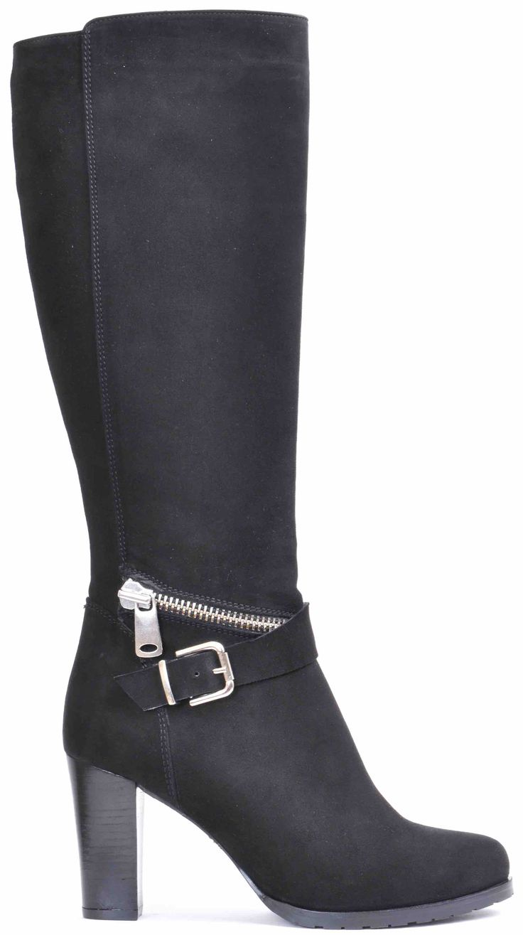 Long boot black suede