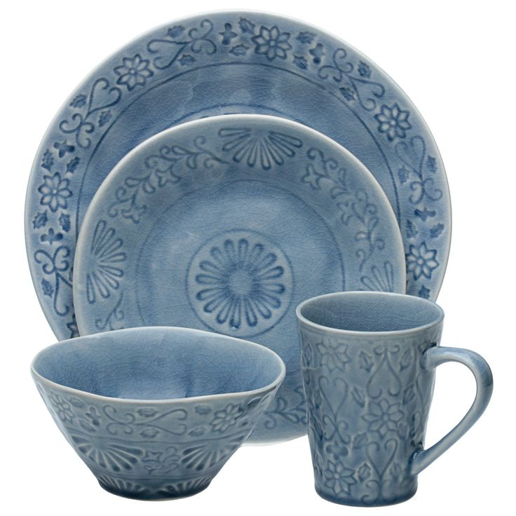 Merkado 16-piece Blue Dinnerware Set - Overstock™ Shopping - Great Deals on Casual  sc 1 st  Pinterest & 20 best Dinner Ware images on Pinterest | Dish sets Dinnerware sets ...