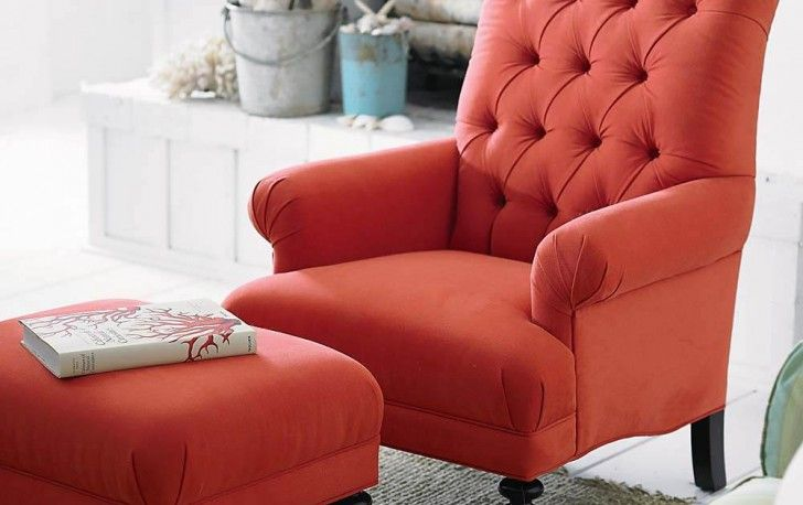 Trendy Orange Tufted Back Living Room Accent Chair With Matching Footstool Design Plus Pottery Barn Rug Adorable Room Idea for Any Living Room Using Well-Designed Cadence Chairs Living Room