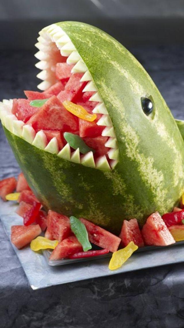 Shark watermelon party foods pinterest summer
