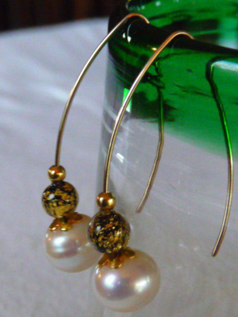 WHITE SOUTH SEA PEARLS & ITALIAN MURANO GLASS 24KT SOLID GOLD, & 14KT