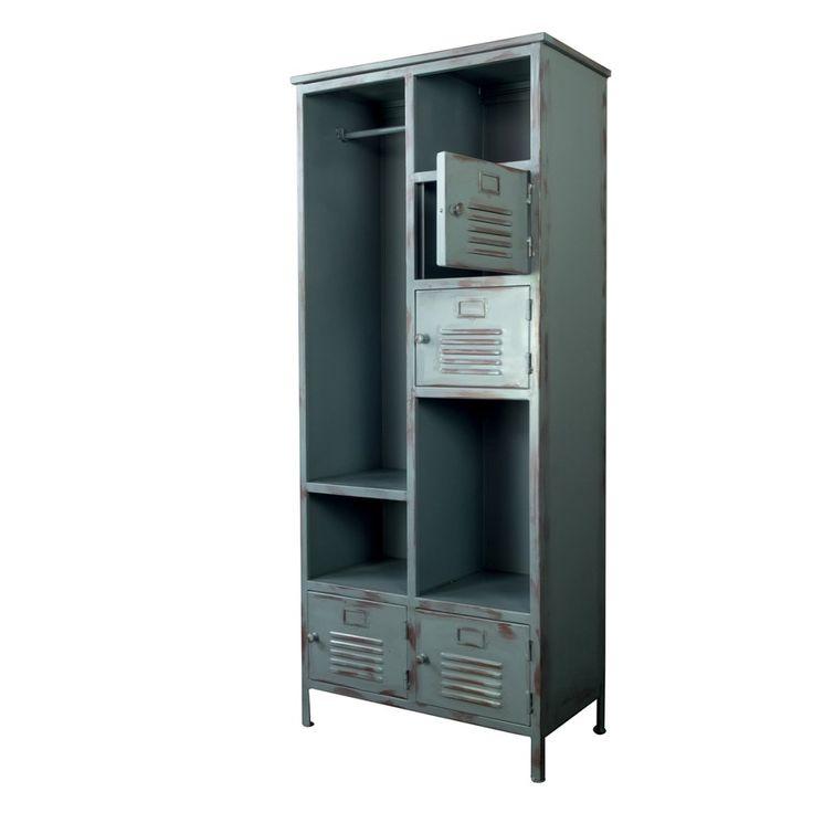 metallskåp locker garderob grå industri