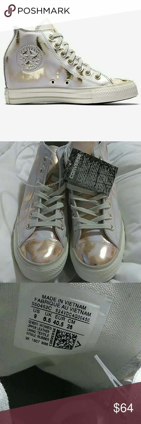 New Converse All Stars Chuck Taylors New Converse Chuck Taylor All Star Lux Brush Off Leather Hidden Wedge Sneakers. Stand tall. Shine on. New without box. Converse Shoes Athletic Shoes
