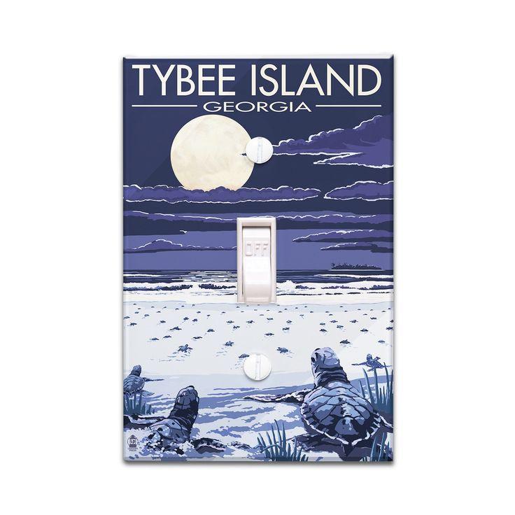 Tybee Island (Blue), GA Sea Turtles Hatching - LP Artwork (Light Switchplate Cover)