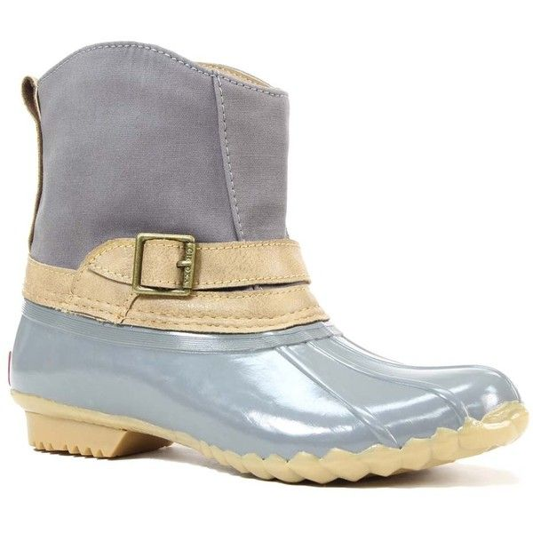 Chooka Gray Canvas Step-In Duck Chooka Boot ($57) ❤ liked on Polyvore featuring shoes, boots, ankle boots, slip-on shoes, canvas ankle boots, grey ankle boots, slip on ankle boots and chooka boots