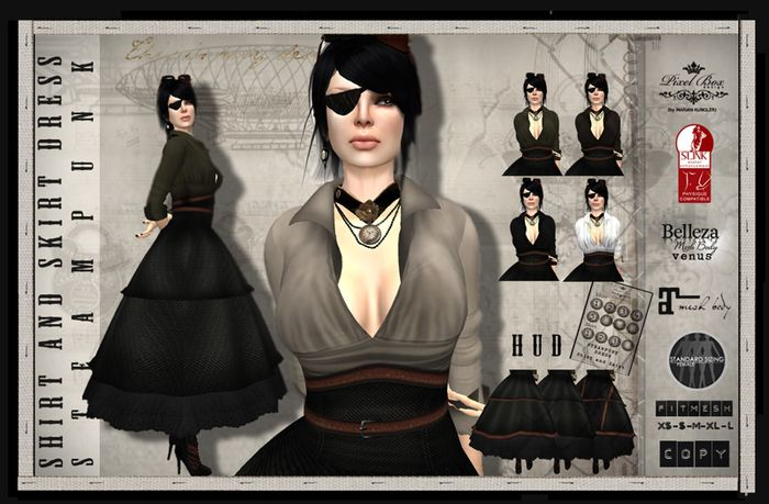 PIXEL BOX - Steampunk Shirt and Skirt Dress Belleza Venus, Maitreya, Slink, Classic