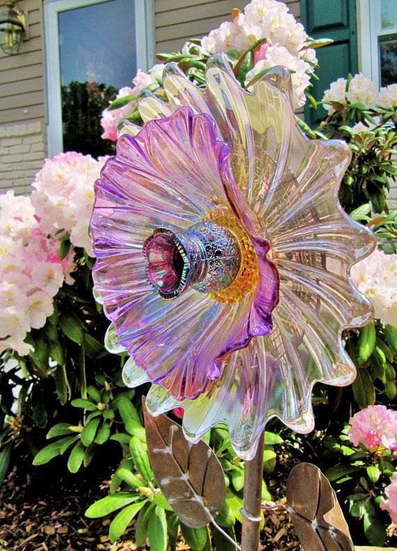 glass garden flowe-vintage glass plate flower upcycled glass