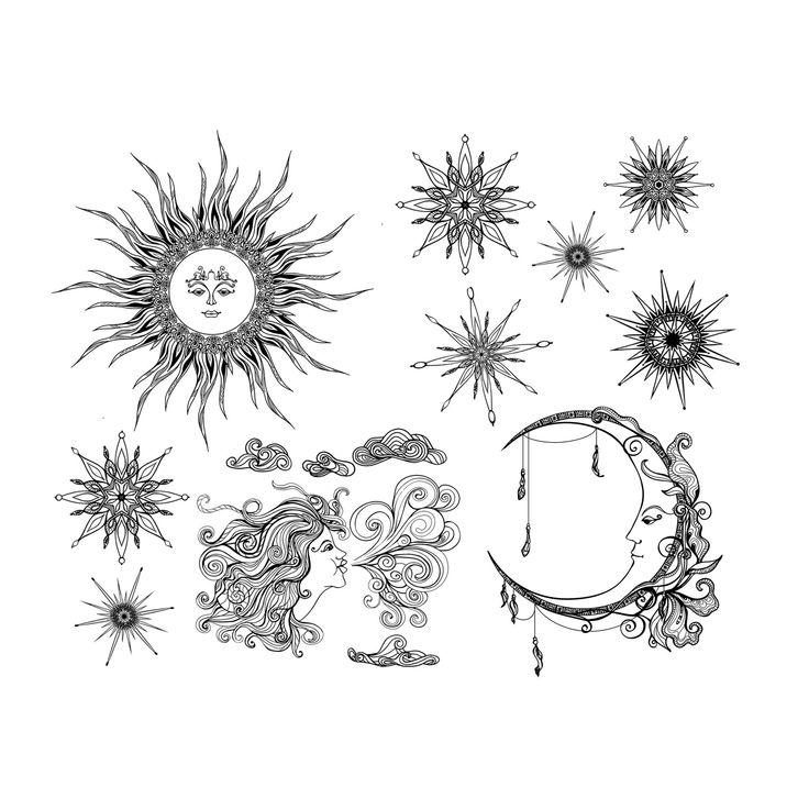 Temporary Tattoo Sheet – Celestial Tattoos – Sun – Moon – Stars – Wind – Fake Tattoos   – Ink